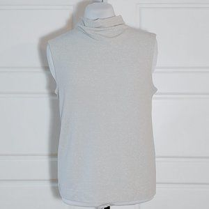 Light gray and silver mock neck sleeveless top